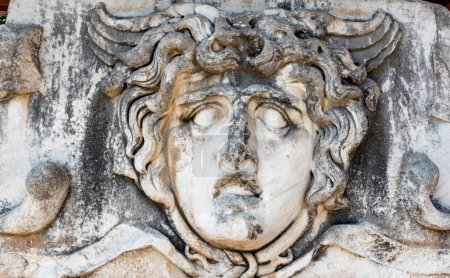 Stone carved Medusa head at Apollo Temple at Didym...