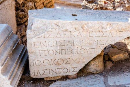 Ancient scripture on marble Ruins in Ephesus historical ancient city, in Selcuk,Izmir,Turkey.