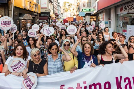 "Women Protesters rally in kadikoy against interfering women clothes. Women carry""Do not touch my clothes"" banners: TURKEY, ISTANBUL,29 JULY 2017"