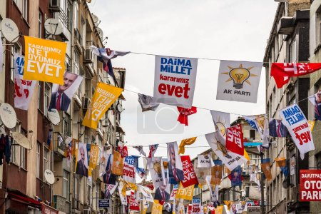 Hang different party flags during a yes referendum ,plebiscite campaign rally in the Street near, Yenikapi meeting area.ISTANBUL,TURKEY- APRIL 9, 2017