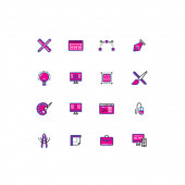 16 colored blue and pink design thin line icons