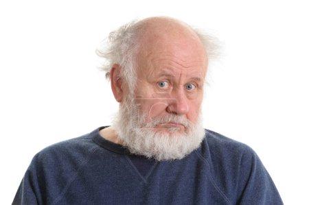 Photo for Sad depressing old bald man isolated portrait isolated on white. sad grandfather - Royalty Free Image