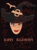 Happy Halloween - red spider - face of a woman in a black hat bat - vector
