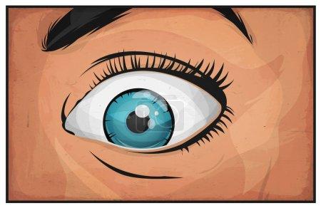 Illustration pour Illustration d'une bande dessinée féminine vous regardant et vous regardant avec surprise et un sourire texturé - image libre de droit