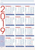 commercial 2019 rules calendar in italian language with national holidays and number of weeks