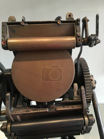 close up of vintage printing press