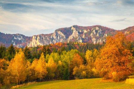 Photo pour Paysage avec des arbres aux couleurs automnales. Montagnes dans les roches de Sulov Réserves naturelles, Slovaquie, Europe . - image libre de droit