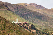 Mosque in landscape of the Beni Snassen Mountains in Morocco.