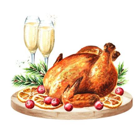Dîner de Noël traditionnel avec des verres de champagne et rôti de Turquie décoré avec des canneberges et des oranges, illustration aquarelle dessinée à la main, isolé sur fond blanc