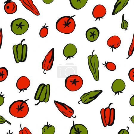 Photo for Hand drawn vegetables on white background.  Vector seamless pattern - Royalty Free Image
