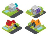 Isolated isomatic house Vector