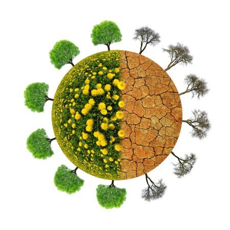 Lush and dry planet with trees isolated on a white background. Concept of change climate or global warming.