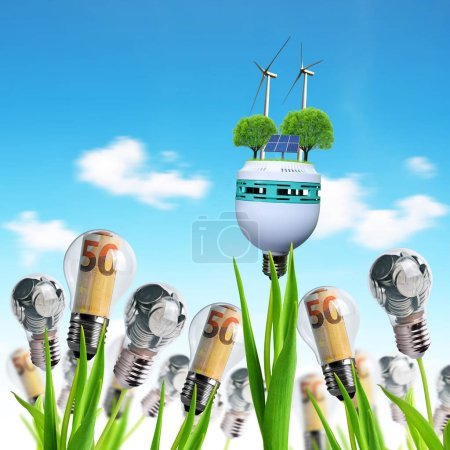 Light bulb with wind turbines,solar panel and coin...