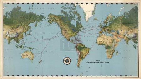 Carte du monde vintage avec continents et îles. Carte géographique du monde rétro .