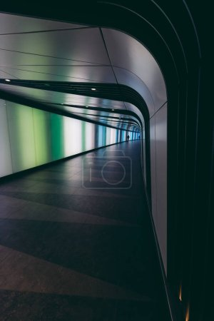 Futuristic modern sci-fi moody tunnel background in city of London