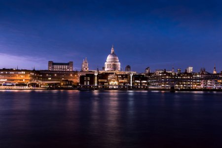 St Pauls Cathedral on London city skyline at night