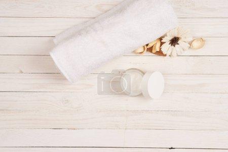 White towel cosmetics bathroom accessories wooden ...