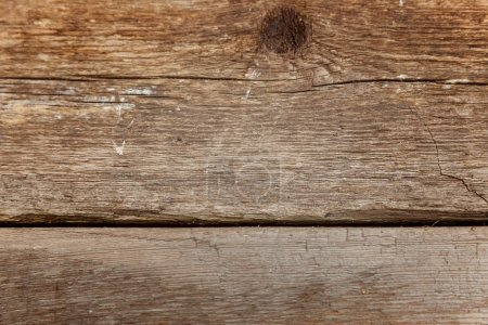 Simple eco rustic old vintage wooden flat lay desk texture. Close up of wall made of wooden planks