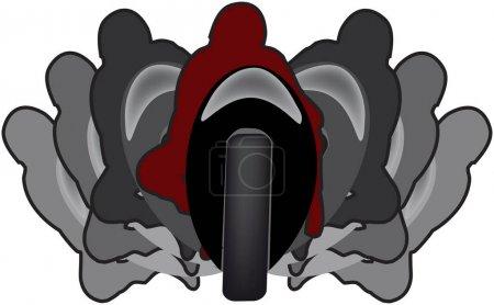 Ilustración de Símbolo de la motocicleta deportiva en movimiento en el pliegue - Imagen libre de derechos
