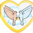 Golden heart with two inner birds doves...