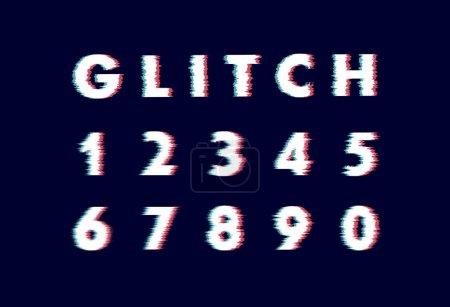 Ilustración de Moda estilo distorsionado tipo de glitch. Alfabeto de vectores de letras y números - Imagen libre de derechos