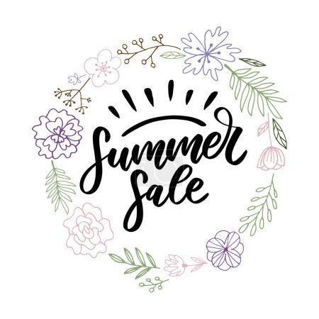 Vector word Summer sale .Letters made of flowers and leaves Summer sale Holiday Flyer Banner Poster Summer sales