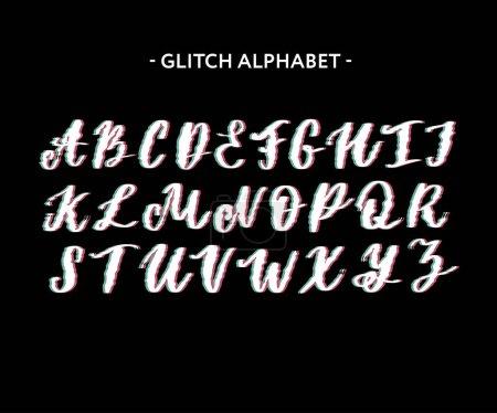 Ilustración de Moda estilo distorsionado tipo de glitch. Letras y números - Imagen libre de derechos