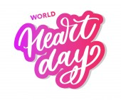 Vector illustration for World Heart Day lettering calligraphy