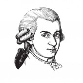 Wolfgang Amadeus Mozart Great composer and musician Vector portrait