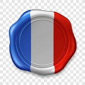 French national flag Glossy wax seal Sealing wax old realistic stamp label on transparent background Top view Label Vector illustration