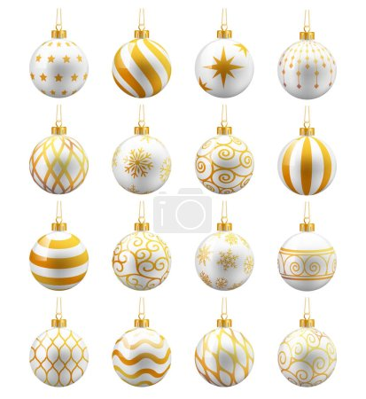 White And Gold Christmas Balls set. Vector illustrations