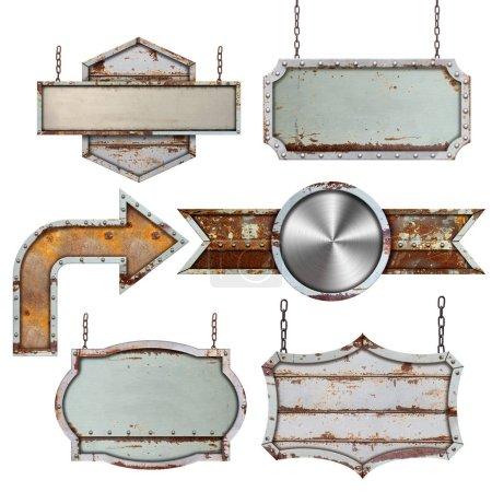 Photo pour Ensemble de vieux panneau en acier métallique isolé sur fond blanc - image libre de droit