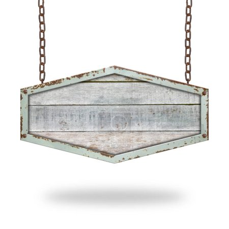 Photo for Wooden sign hanging on a chain isolated on white background. - Royalty Free Image