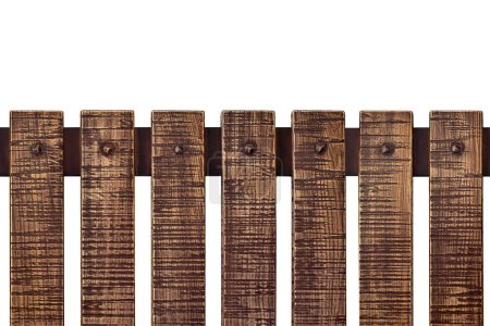 Aged scratched wooden plank fence isolated on white. Rustic vintage background. Object with clipping path for design.