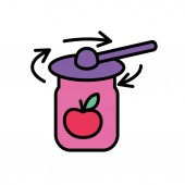 Tightening the rims on the jar lids Flat style Vector icon Cooking concept