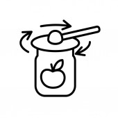 Tightening the rims on the jar lids Line art style Vector icon Cooking concept