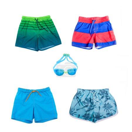 Photo pour Collage de différents shorts pour garçons de différentes couleurs - image libre de droit