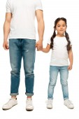 cropped view of father holding hands with cute daughter isolated on white