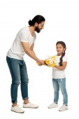 happy latin father giving yellow flowers to cute daughter isolated on white