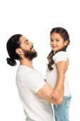 happy latin man holding in arms cheerful daughter isolated on white
