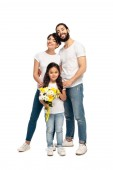 happy latin parents standing near cute daughter with flowers isolated on white
