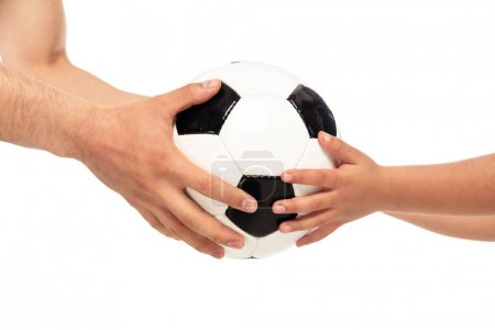 cropped view of father and daughter holding soccer ball isolated on white