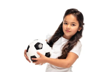 Photo for Adorable child holding soccer ball isolated on white - Royalty Free Image
