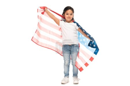 Photo for Happy latin kid in denim jeans standing with american flag isolated on white - Royalty Free Image