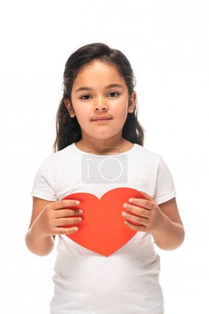 Photo for Cute latin kid holding red heart-shape carton isolated on white - Royalty Free Image