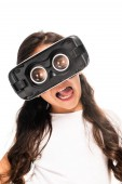 cute latin kid showing tongue while wearing virtual reality headset isolated on white