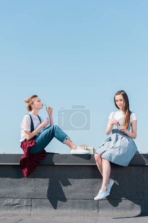 attractive young female friends using bubble blowers at rooftop