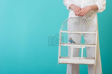 partial view of girl in white with parrot in white cage, isolated on turquoise