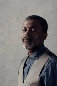 Portrait de l'élégant homme afro-américain dans gilet