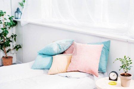 Photo pour Lit confortable avec beaucoup d'oreillers dans la salle lumineuse moderne avec réveil et plante de table de chevet - image libre de droit